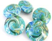 Rainforest Whirl Lentils Handmade Polymer Clay Beads Supplies