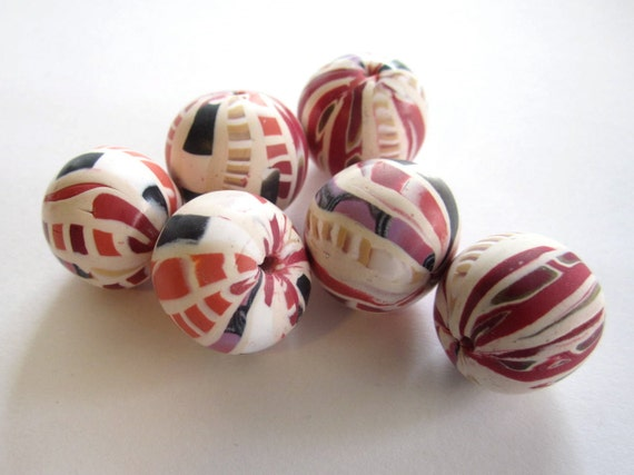 Pink Peppermint  Beads Handmade Polymer Clay Beads Jewelry Supplies