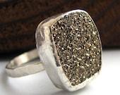 Handmade sterling silver and golden moonbeam druzy ring- Gold rush