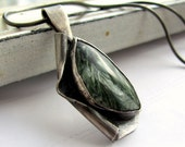 Handmade sterling silver and seraphinite pendant necklace- Reserved for moonshinemarble