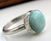 Handmade sterling silver aqua blue amazonite ring size 7 and a half