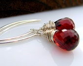 Faceted garnet and sterling silver earrings