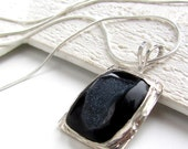 Druzy necklace espresso brown black sterling silver necklace metalwork pendant