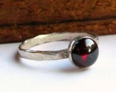 Garnet sterling silver solitaire ring stacking ring January birthstone Red