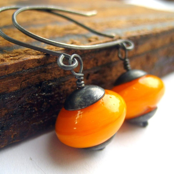 Midnight sun-  Bright orange and oxidized sterling silver earrings