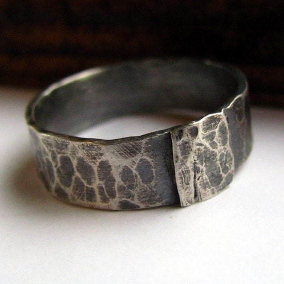 Rustic sterling silver mens ring- size 10 and a half