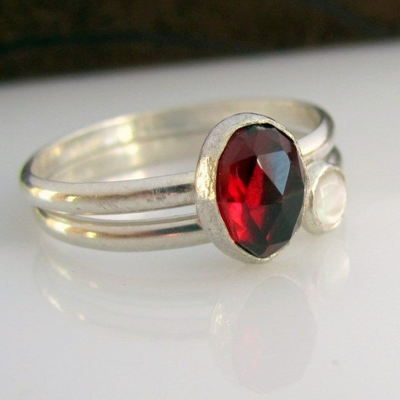 Handmade sterling silver, garnet and freshwater pearl ring pair- reserved for lizziebear59