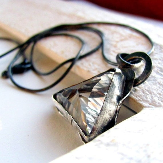 Handmade oxidized sterling silver and crystal quartz pendant necklace