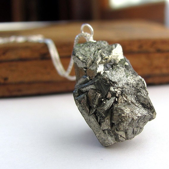 Golden Pyrite chunk and sterling silver necklace