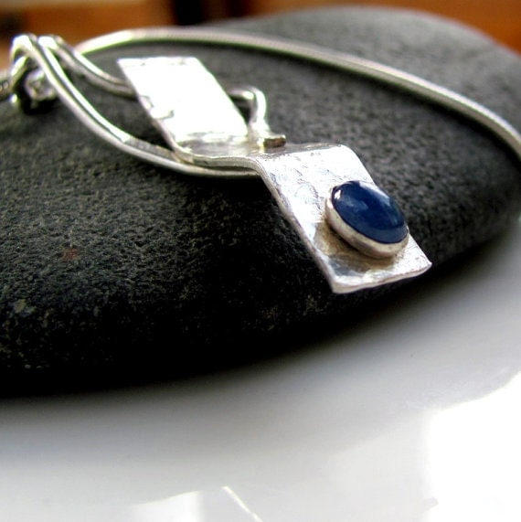 Gemstone necklace, genuine sapphire pendant necklace, sterling silver, One of a kind, September birthstone, statement necklace