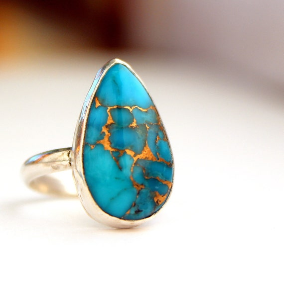 Genuine turquoise bronzed sterling silver ring size 5 and a quarter