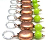 Knit Row Counters Stitch Markers Rustic Handmade Copper and Lime Green Stitchmarkers Knit Crochet