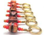 Knitting Row Counters Stitch Markers Painted Wooden Beads Orange Red Gold Brown Knit Crochet
