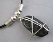 Moltar - wire-wrapped lava stone pendant