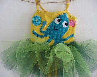OCTOPUS  TUTU- Under the Sea Tutu  - Octopus Leotard - 18/24 months, 2/4 years, 4/6 years, 6/8 years and up