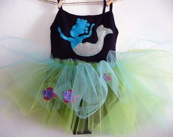 MERMAID LEOTARD TUTU- Blue Mermaid Lady of the sea- Size 18/24 months, 2/4 years, 4/6 years, 6/8 years up to adult sizes.