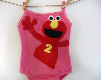 ELMO BIRTHDAY LEOTARD - Personalized Custom Leotard -  Sizes 12/18 months, 2/4 years, 4/6 years and 6/8 years