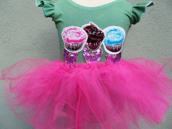 Sweet Sprinkle Cupcake Leotard with attached Tutu-  Birthday, Dance, Gymnatics or just for fun- Size 12/18 months, 2/4 years, 4/6 years or 6/8 years