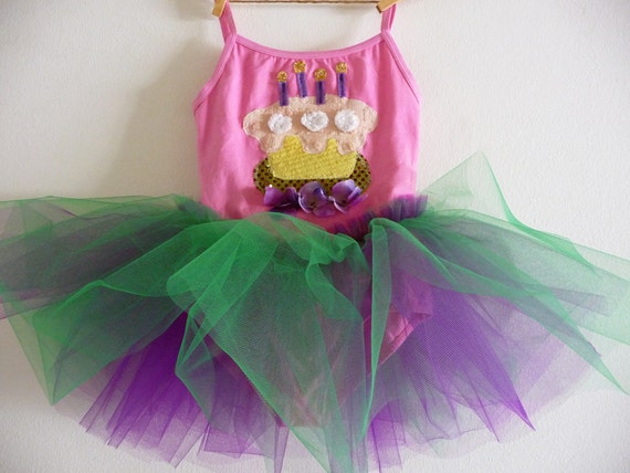 BIRTHDAY LEOTARD TUTU - Birthday Tutu - Cupcake Tutu - Personalized Tutu - Sizes 18/24 months, 2/4 years, 4/6 years , 6/8 years and up