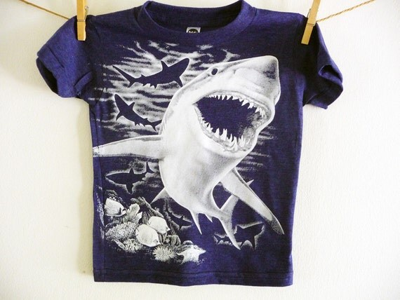 COOL SHARK TSHIRT - Under The Sea  -  Children's tee - Size 2, 4, 6, 8, 10, 12 up to Adult Sizes