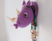 Rhinka the Rhino - Amigurumi Rhino Crochet Pattern - Faux Taxidermy  - Crochet Wall Decor