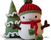 Amigurumi Crochet Snowman Pattern - Frosty the Snowman and Christmas Tree - Softie - Plush