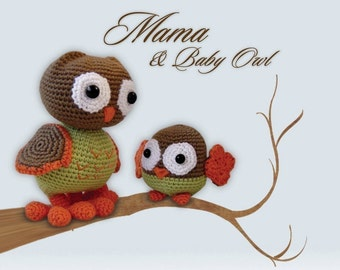 Amigurumi Crochet Owl Pattern - Mama and Baby Owl
