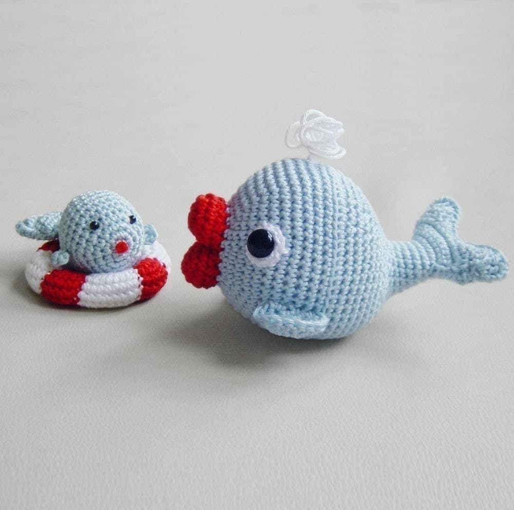 Amigurumi Christmas Ornaments Patterns : Amigurumi Crochet Whale Pattern Whales Set Softie Plush