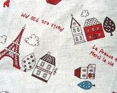 Beautiful  Japanese Fabric-Cute Parisienne Town 40 x 100cm (F433)