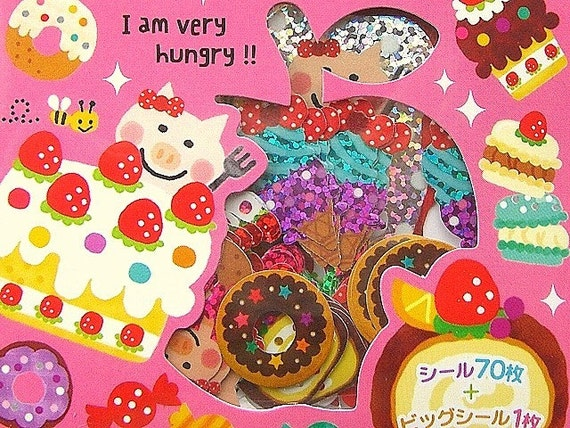 Cute Japanese Sticker Flakes Cute Pig And Cake By Mind Wave (S53)