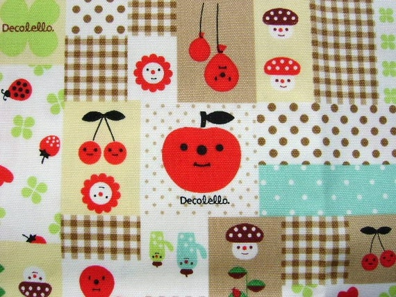 Cute Japanese Fabric APPLE Decole Decolello BEIGE (F464)