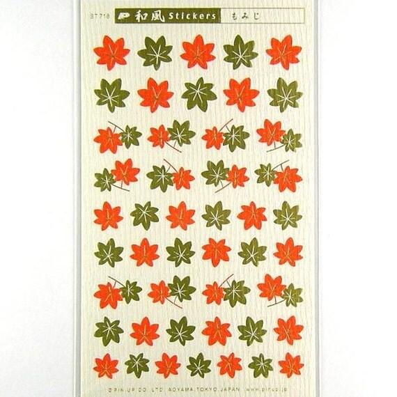 Japanese Chiyogami  Stickers Autumn Leaves Momiji S98