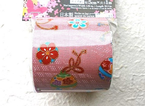 Japanese Fabric Tape Plum Blossoms Flower Pink