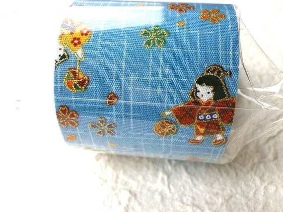 Japanese Fabric Tape Plum Blossoms Little Girls Playing Light blue