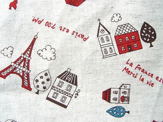 Beautiful  Japanese Fabric-Cute Parisienne Town 40 x 100cm (F433)