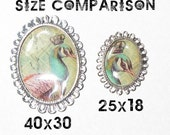 25x18mm Image Cab or Cameo Charm Setting Blanks - Silver Plated (qty 30)