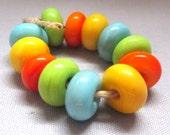 Handmade Lampwork Glass Bead Mini Set Pastel SRA
