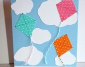 """Cloudy Day Colorful Kite Card  """"Sending a smile"""""""