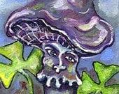 ACEO-  Original, ArtofPatience, 'Lucky Fungus'