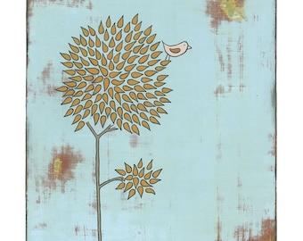 Orange Tree and Bird Print