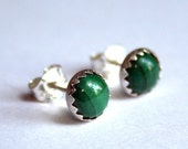 Moss - Sterling Silver Stud Earrings with Malachite Stones