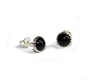 Coal - Sterling Silver and Onyx Stud Earrings