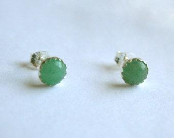 Honeydew - Sterling silver and aventurine earrings