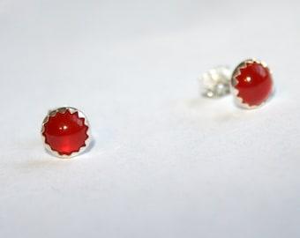Currants - Sterling Silver and Carnelian Stud Earrings