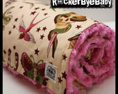 Punk baby girls or toddler blanket Pale Pink tattoo print Alexander Henry  natural Sparrow Skulls heart butterfly with HOT PINK minky swirl