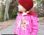 Punk Rock Toddler Girls Hoodie Raspberry with pink tattoo fabric in a star applique size 2t, 4t, or 5/6 with Maroon hood