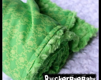 Lime Skull Damask baby or toddler blanket Punk Rock kiwi neon with lime green minky swirl witches brew