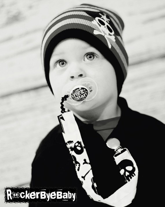 CUstom Pacifier Clip with your choice of fabric as well as a loop or pearl snap for the closure punk baby skull guitar