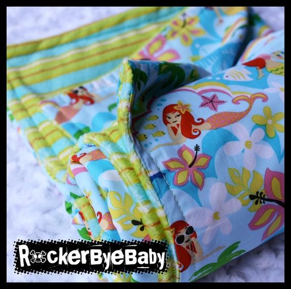 Mermaids Kawaii baby or toddler blanket orange turquoise green Under the Sea with minky stripe