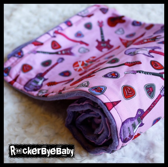 Girlie Guitar Picks girl baby or toddler blanket Punk Rock pink purple black guitar with Dusty Purple Minky Smooth